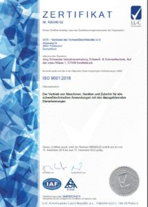 Iso Zertifikat Jörg Schneider Schweißtechnik Erndtebrück ISO 9001